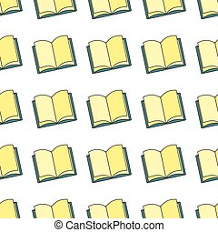 Book seamless pattern in cartoon style isolated on white background vector illustration