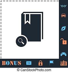 Book search icon flat