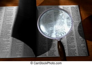 book, search, magnify