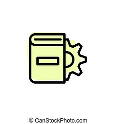 Book, settings with color shadow vector icon in book set