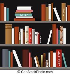 Book shelf. Bookstore indoor.