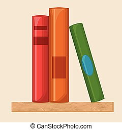 Book shelf flat illustration - Books on a shelf, flat...