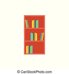 book shelf icon, flat design vector illustration