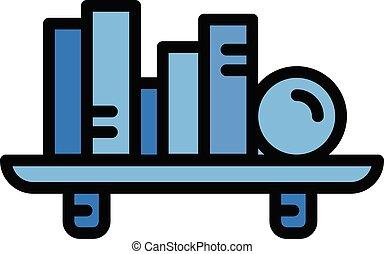 Book shelf icon, outline style - Book shelf icon. Outline ...