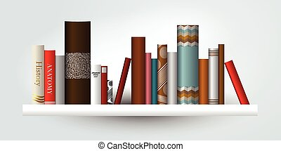 Book shelf. illustration. Bookstore indoor.