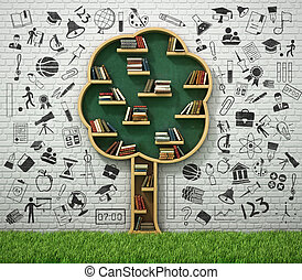 Book shelf in form of tree and drawing concept with grass. ...
