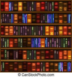 Book Shelf Pattern - A seamless book shelf pattern with rows...