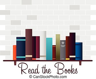 Book shelf. Read the Books. Vector illustration.