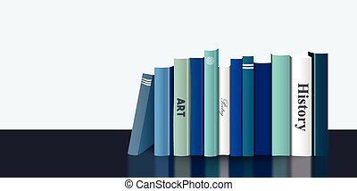 Book shelf. Realistic 3D illustration. Blue design. Bookstore indoor.