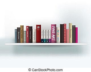 Book shelf. Vector illustration. Bookstore indoor.