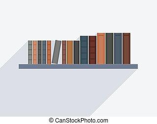 Book shelf vector - Vector bookshelf. Book shelf with books ...