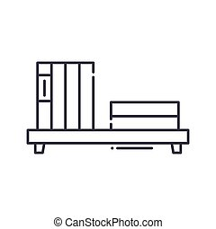Book shelf with books icon, linear isolated illustration, thin line vector, web design sign, outline concept symbol with editable stroke on white background.