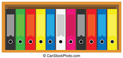 Illustration of book shelves with colorful folders