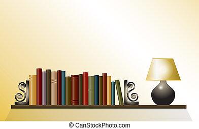 Book shelf with lamp - A bookshelf of books between bookends...