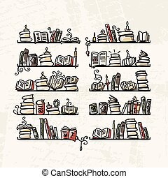 Book shelves, sketch for your design. Vector illustration