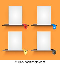 Book shelves with lables on orange background. - Book...