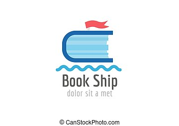 Book ship template logo icon. Back to school. Education, university, college symbol or knowledge, books stack, publish, page paper. Design element. Isolated on white.