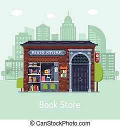 Book Shop Concept Banner - Old public book shop building...