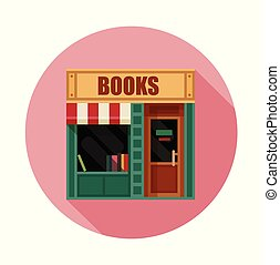 Book shop front view flat icon, vector illustration