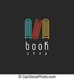 Book shop logo, mockup of sign literature store, design library icon