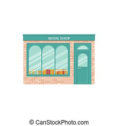 Book shop, storefront. Vector illustration. Vintage store front.