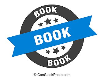 book sign. book blue-black round ribbon sticker