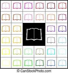Book sign. Vector. Felt-pen 33 colorful icons at white and black backgrounds. Colorfull.