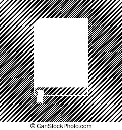 Book sign. Vector. Icon. Hole in moire background.