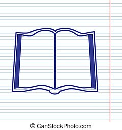 Book sign. Vector. Navy line icon on notebook paper as background with red line for field.