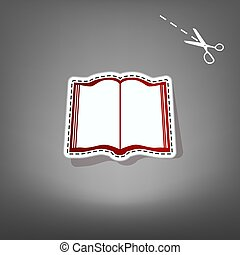 Book sign. Vector. Red icon with for applique from paper with shadow on gray background with scissors.