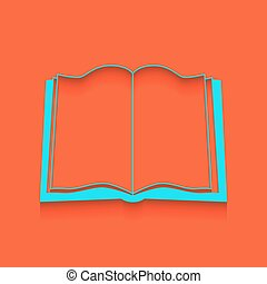 Book sign. Vector. Whitish icon on brick wall as background.