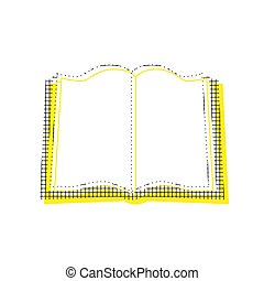 Book sign. Vector. Yellow icon with square pattern duplicate at