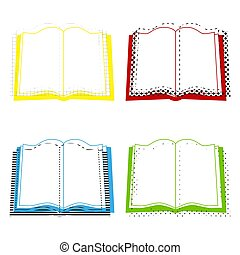 Book sign. Vector. Yellow, red, blue, green icons with their bla