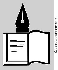 book silhouette on gray background, vector illustration