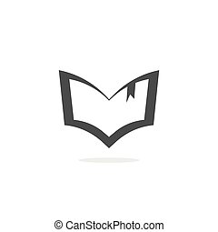 Book silhouette vector logo, outline open textbook shape icon