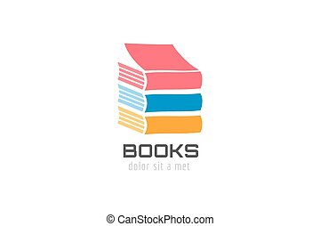 Book skyscraper template logo icon. Back to school. Education, university, college symbol or knowledge, books stack, publish, page paper. Design element. Isolated on white.