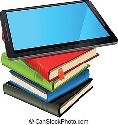 Illustration of a tablet pc e-book set upon a book stack. Imaginary model of tablet not made from a real existing product or copyrighted model