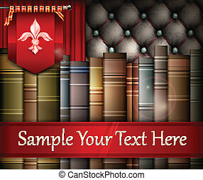 Book stack and heraldry lily - New book stacks heraldry lily...
