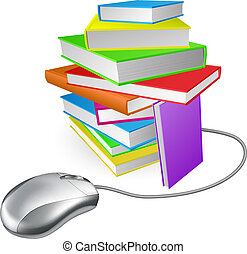 Book stack computer mouse concept. Could be for online library, ebooks, or internet e learning or distance learning