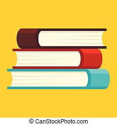 Book stack icon, flat style