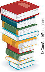 Book Stack - Illustration of a Tall Stack of Books with...