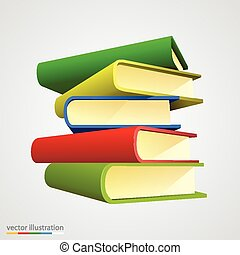 Book stack on white background