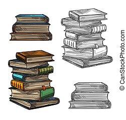 Book stack sketch for education, literature design