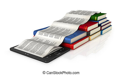 Book store and e-book on the table, 3d illustration