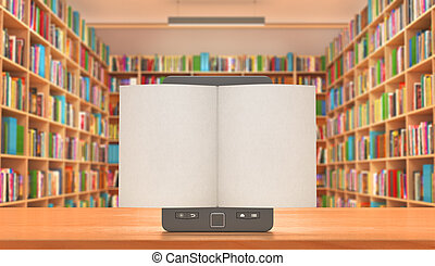 Book store and e-book on the table with white pages, 3d illustration