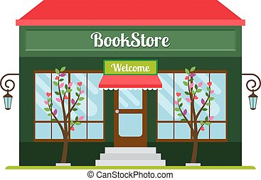 Book store facade icon - Book store facade colored flat...