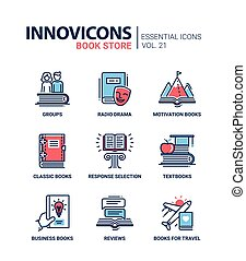 Book store - modern color vector single line icons set....