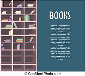 Book Store Promotion Poster With Wooden Bookcase