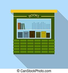 Book street kiosk icon, flat style