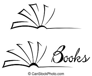 Book symbol - Black open book isolated on white